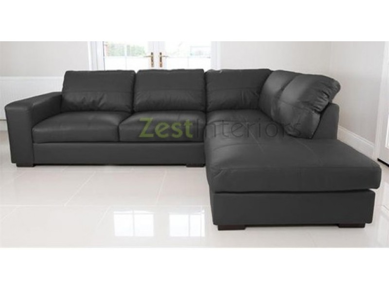 Venice right hand corner sofa black faux leather w chaise for Black leather chaise lounge sofa