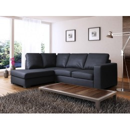 Venice Left Hand Large Corner Sofa Black PU Leather with Chaise Lounge