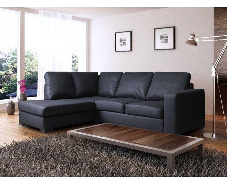 Venice Left Hand Corner Sofa Black Faux Leather w/ Chaise Lounge