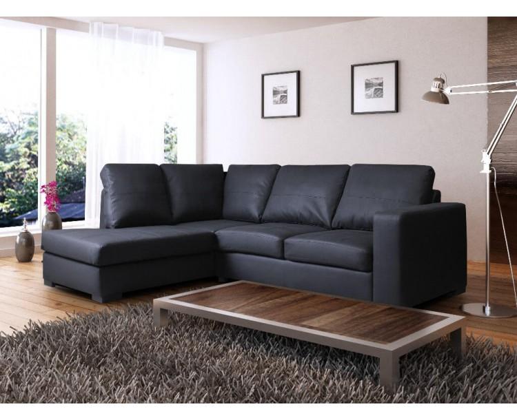 Venice Left Hand Corner Sofa Black Faux Leather w/ Chaise Lounge