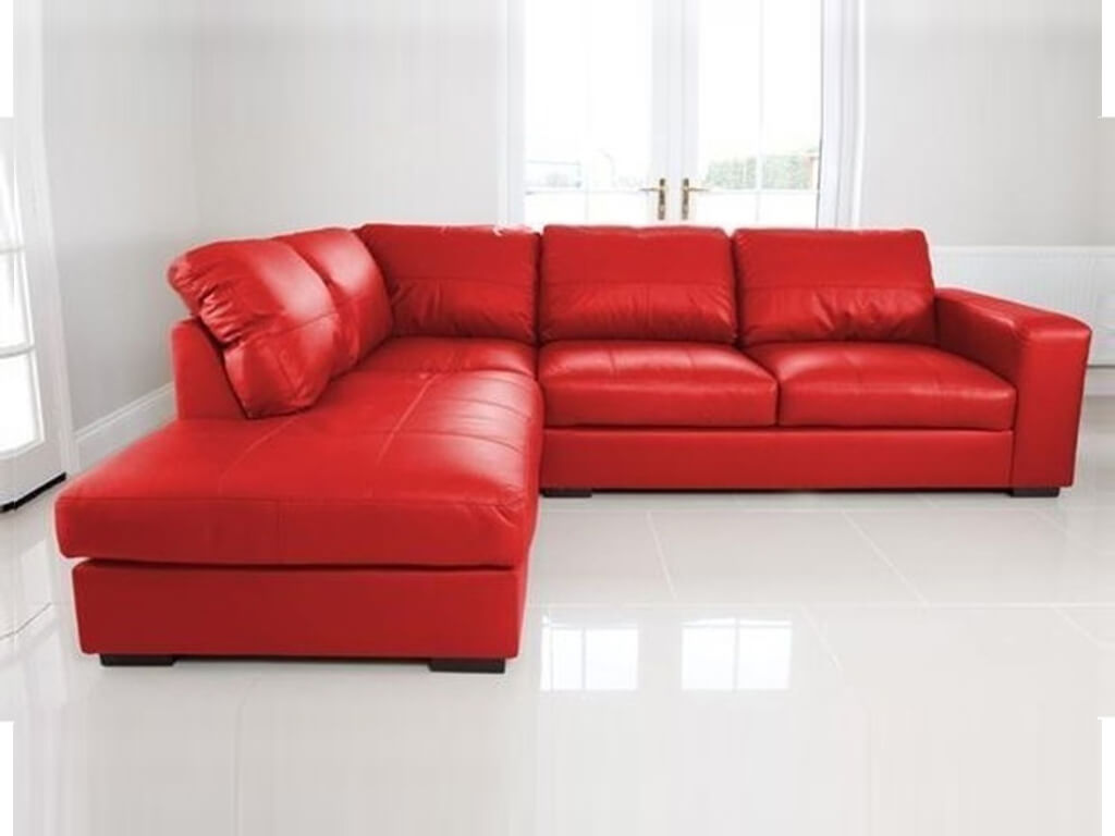 Venice Left Hand Large Corner Sofa Red Faux Leather with Chaise ...