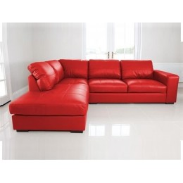 Venice Left Hand Large Corner Sofa Red Faux Leather with Chaise Lounge