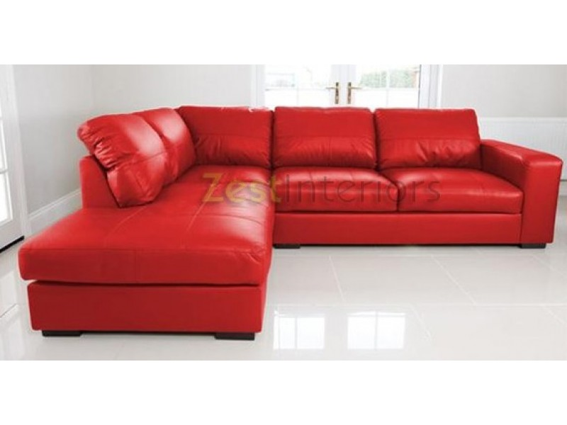 Venice left hand large corner sofa red faux leather with for Red corner sofa