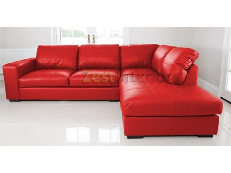 Venice Right Hand Corner Sofa Red Faux Leather W Chaise