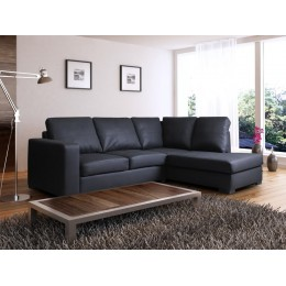Venice Right Hand Large Corner Sofa Black PU Leather with Chaise Lounge