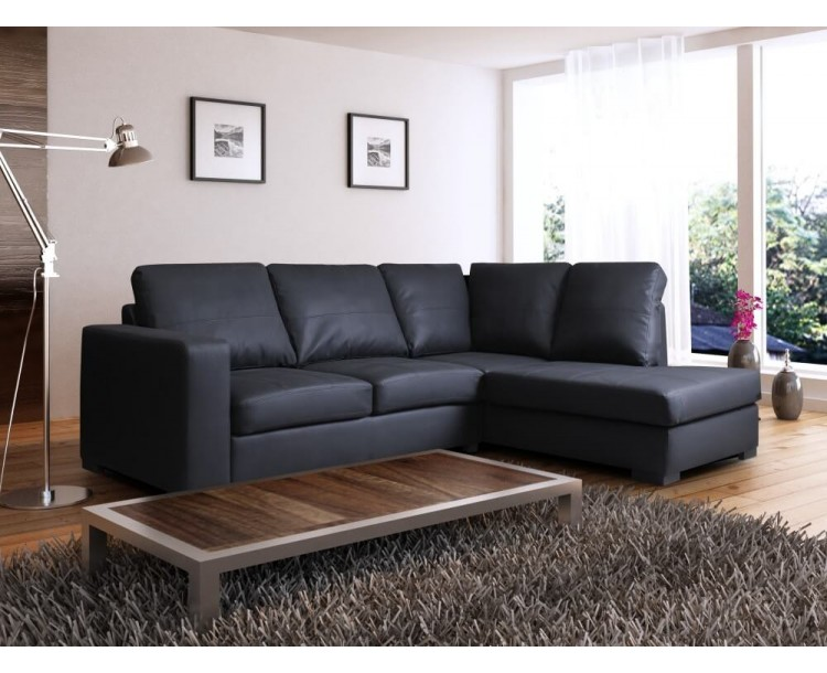 Venice Right Hand Corner Sofa Black Faux Leather w/ Chaise Lounge