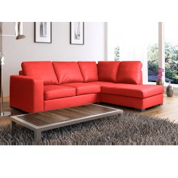 Venice Right Hand Large Corner Sofa Red PU Leather with Chaise Lounge