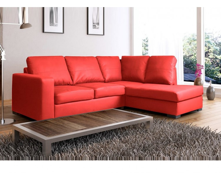 Super Venice Right Hand Corner Sofa Red Faux Leather W Chaise Lounge Customarchery Wood Chair Design Ideas Customarcherynet