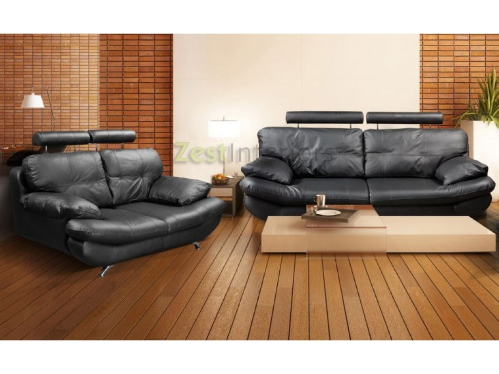 Miraculous Verona Black 3 2 Faux Leather Sofa Set W Adjustable Headrest Pdpeps Interior Chair Design Pdpepsorg