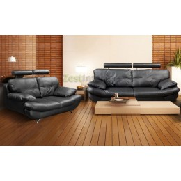 Verona Three & Two Black PU Leather Sofa Set with Adjustable Headrest