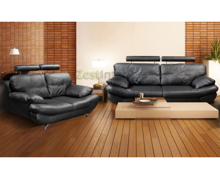 Verona Three U0026 Two Black PU Leather Sofa Set With Adjustable Headrest ...