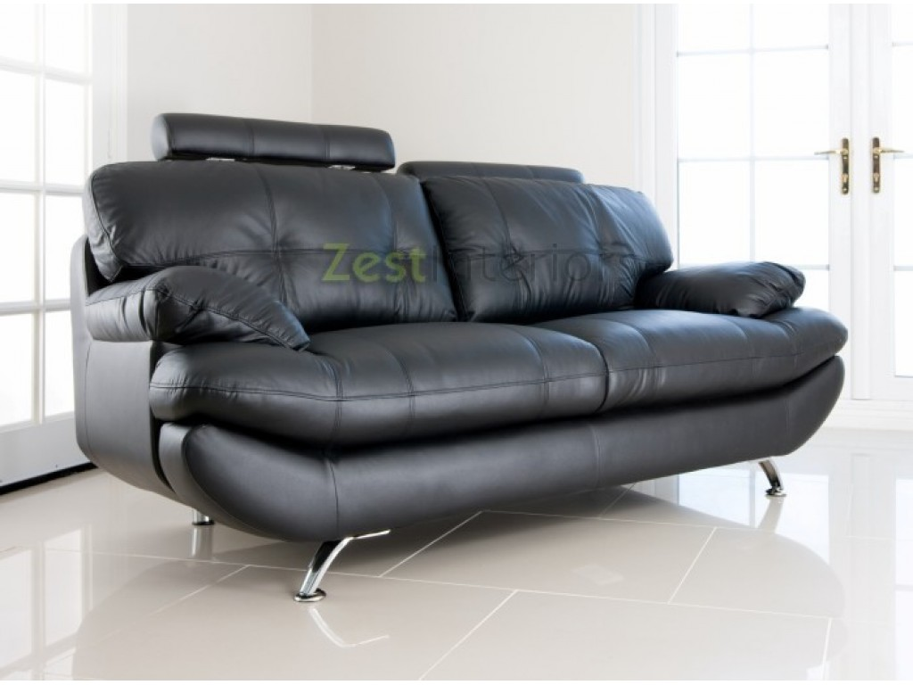 Verona 2 Seater Sofa Black Faux Leather W Adjustable Headrest
