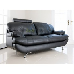 Verona Two Seater Sofa Black Faux Leather with Adjustable Headrest