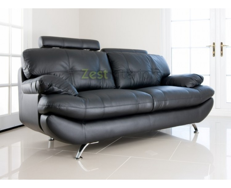 Verona 3 Seater Black Faux Leather Sofa w/ Adjustable Headrest