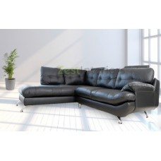 Verona Left Hand Large Corner Black Faux Leather Sofa with Headrest