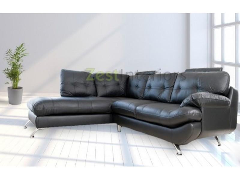 Verona Left Hand Large Corner Black Faux Leather Sofa With Headrest