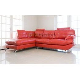 Verona Left Hand Large Corner Red Faux Leather Sofa with Headrest