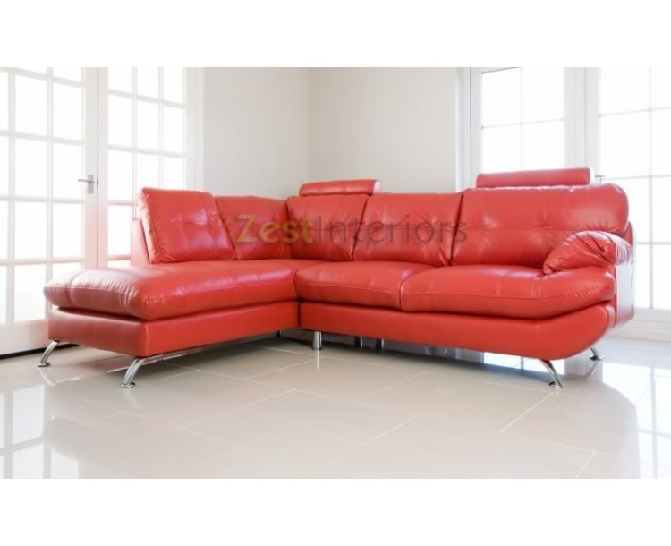 Verona Stylish Red Left Large Corner Faux Leather Sofa