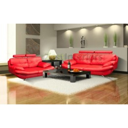 Verona Three & Two Red Faux Leather Sofa Set with Adjustable Headrest