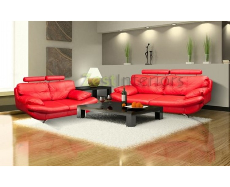 Verona 3 & 2 Faux Leather Sofa Set w/ Adjustable Headrest