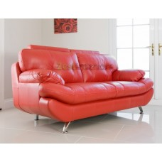 Verona Two Seater Sofa Red Faux Leather with Adjustable Headrest