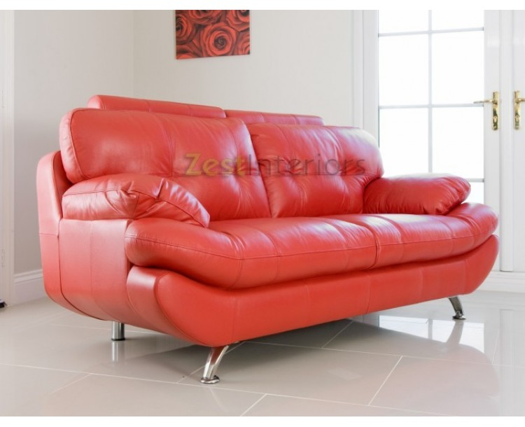 Verona 3 Seater Red Faux Leather Sofa w/Adjustable Headrest