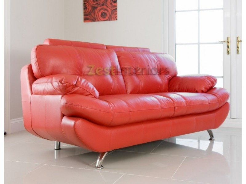 Verona Three Seater Sofa Red PU Leather Sofa With Adjustable Headrest