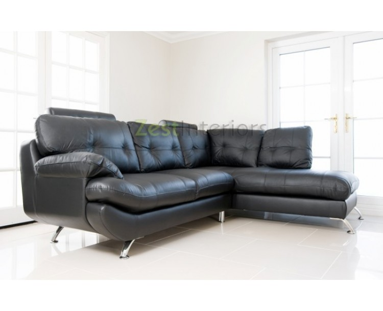 Verona Right Hand Large Corner Black Faux Leather Sofa With Headrest ...