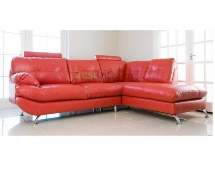 Verona Right Hand Large Corner Red Faux Leather Sofa with Headrest