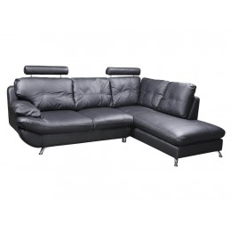 Verona Right Hand Large Corner Black Faux Leather Sofa with Headrest