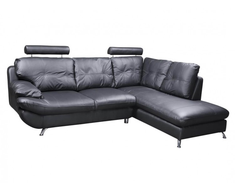 Verona Right Black Corner Faux Leather Sofa w/ Headrest