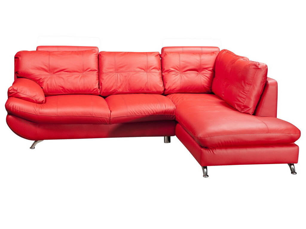 Verona Right Large Corner Red Faux Leather Sofa w/ Headrest