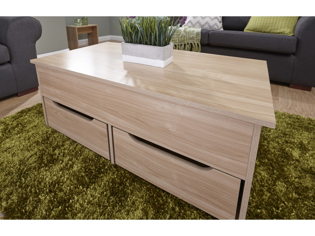 Ultimate Oak Lift Up Storage Coffee Table With Drawers