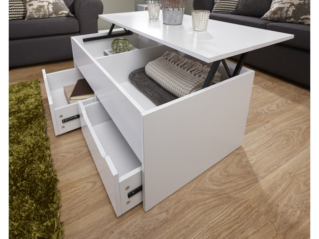 White Ultimate Lift Up Top Storage Drawers Coffee Table