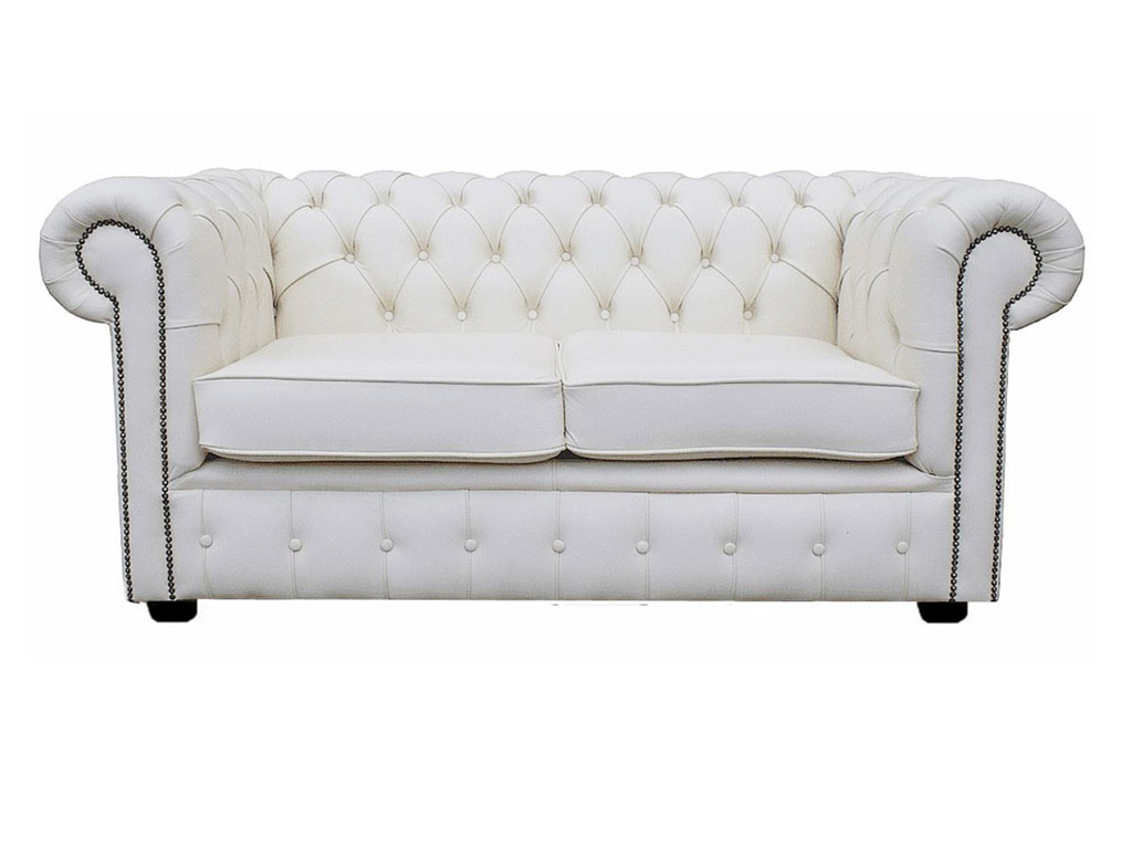 Chesterfield Genuine Leather Shelly White Two Seater Sofa