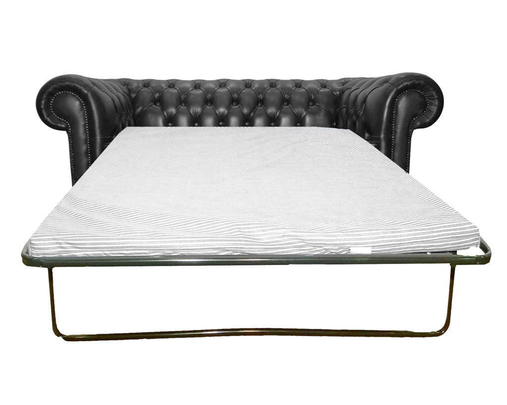 Chesterfield Genuine Leather Black Two Seater Sofa Bed