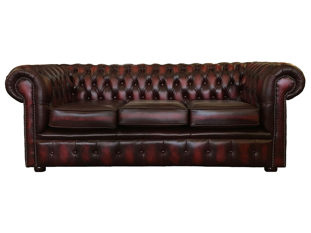 Admirable Chesterfield Real Leather Oxblood Red Three Seater Sofa Download Free Architecture Designs Grimeyleaguecom