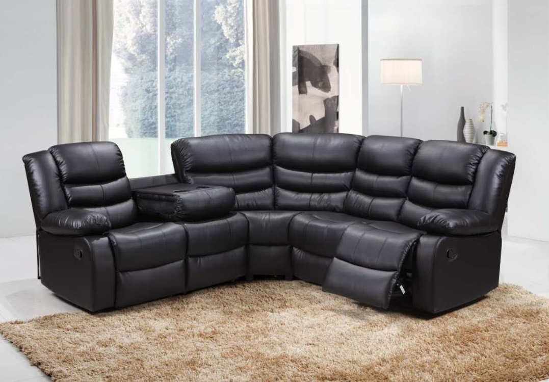 Excellent Roma Bonded Leather Corner Sofa Suite With Reclining Chairs Machost Co Dining Chair Design Ideas Machostcouk
