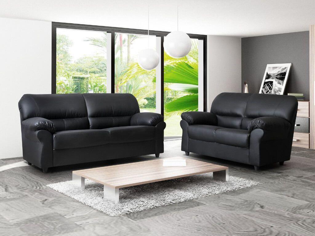 Polo Three & Two Black Faux Leather Sofa Room Set