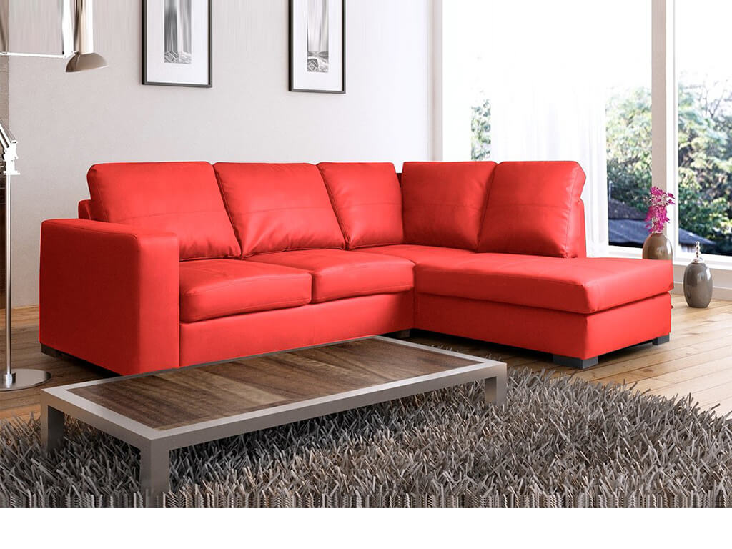 Venice Right Hand Corner Sofa Red Faux Leather w/ Chaise Lounge