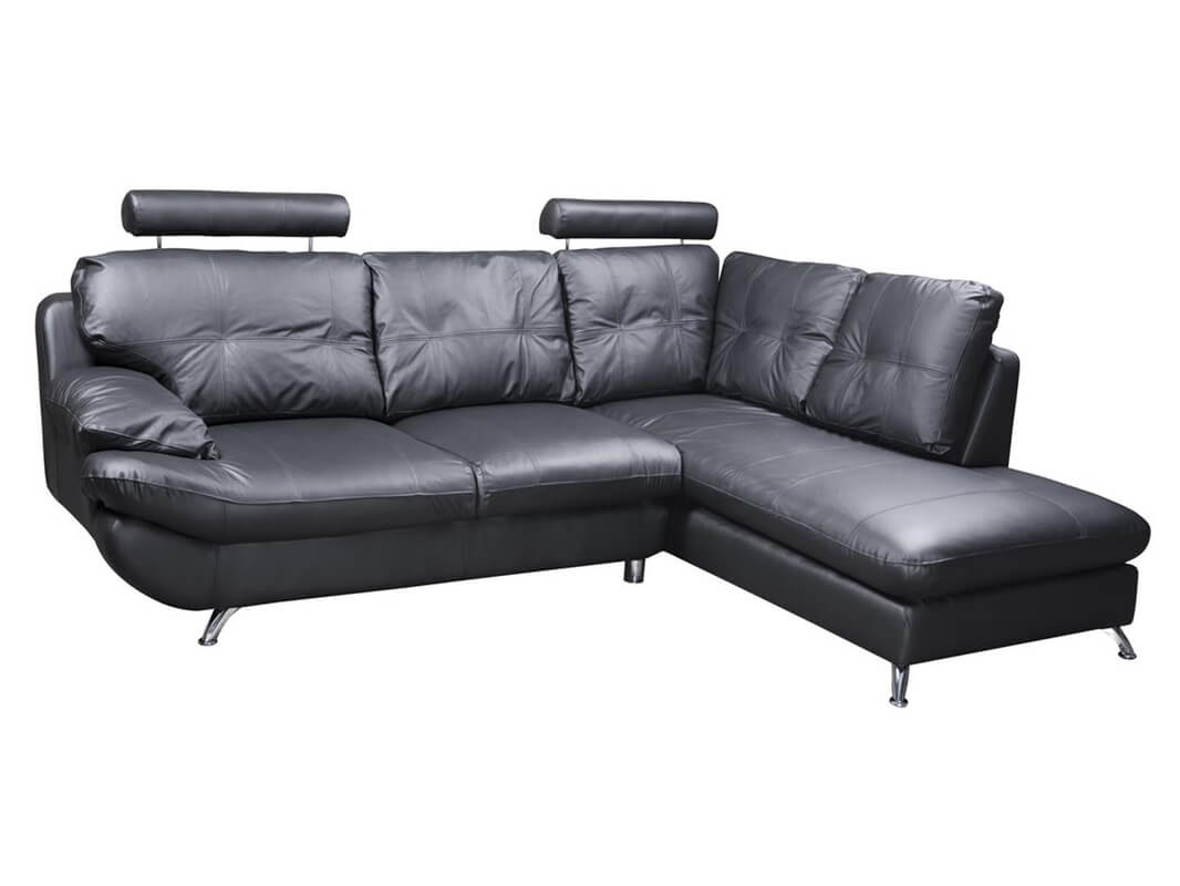 Verona Right Black Corner Faux Leather Sofa W Headrest