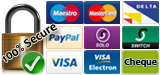 We accept Credit/Debit Card securely via PayPal